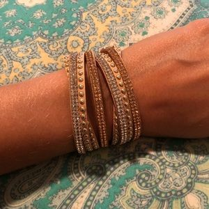 NWOT Boho Wrap Bracelet Tan Suede with Studs